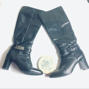 Tory Burch silver buckle heeled boots